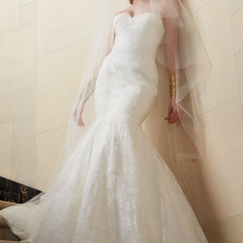 Wtoo by Watters Poeta 12159 Strapless Lace Mermaid Wedding Gown