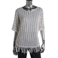 NY Collection Womens Metallic Knit Poncho Sweater