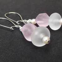 Pink Sea Glass Earrings: Frosted White Glass and Blush Pink Pearl Dangle Pierced Wire Hook Earrings, Beach Wedding Jewelry