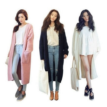 Women's Fashion Autumn and Winter Knitted Coat No Buttons Long Jacket Casual Style New Fashion Korean Style [8833546252]