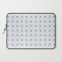 Acrylic Blue Square Dots Laptop Sleeve by Doucette Designs