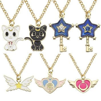 Hot Anime Sailor Moon Jewelry Cat Star Key Heart Wings Charm Necklaces Pendants Enamel Crystal Stars Wings Choker Necklace Colar