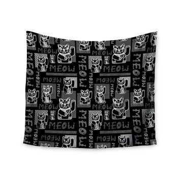 "Jane Smith ""Meow Repeat"" Black White Wall Tapestry"