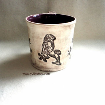 Mermaid Large Coffee Cup, Seahorse Pottery Mug, Starfish Ceramic Mug, Mulberry, OOAK 16 oz