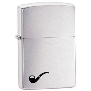 new Classic Zippo Brushed Finish Chrome Pipe Lighter Backed Lifetime Warranty