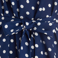 Long Short Sleeves Medium Format Memory Tunic in Navy Dots by ModCloth