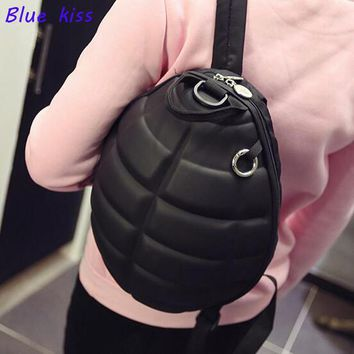 Creative Neutral Canvas Turtle Shell Style Backpack Hand Grenade Shoulder Bag Cool School Bag  unisex bag