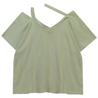 Solid Color Oblique Halter Blouse