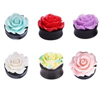 A Pair Flower Ear Plug Acrylic Flesh Ear Plug Tunnel Ear Expander Gauges Body Piercing Jewelry