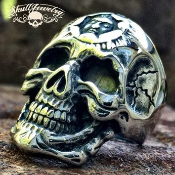 'Don't You Forget About Me' Stainless Steel Skull Ring with Inner Face (106)