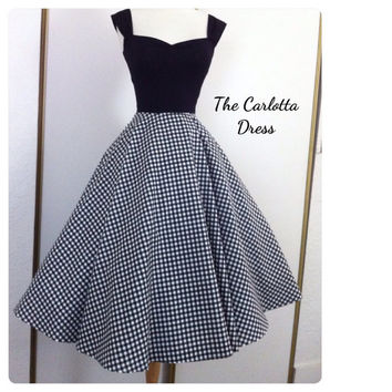 The Carlotta black gingham 1950s Capped Sleeve Dress, Pin Up Summer Dress Mid Calf Length, Mod Tea Length Day Dress, Full Circle Skirt Style