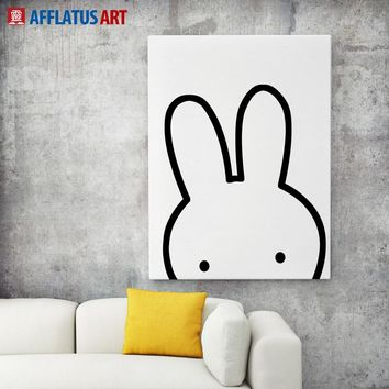 AFFLATUS Black White Nordic Miffy Rabbit Wall Pictures Canvas Painting Art Printed Poster Watercolor Painting Kids Room Decor
