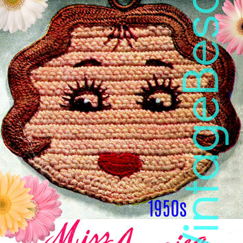 Miss America Potholder CROCHET Pattern • PdF Pattern • Vintage 1950s Digital • Super Cute for Bridal Shower Birthday DIY Wedding Potholders