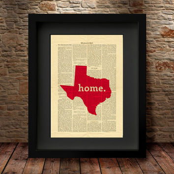 Texas, Texas State, Texas State Map, Art Print, Dictionary Print, Book Print Page Art Vintage Book Art, Dictionary State Art Print -27x