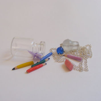 Pencil and Eraser Miniature Food Necklace Pendant  by NeatEats