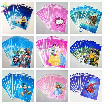 10pcs/set Hot Spiderman Hello Kitty Avengers Sofia Six Princesses Mickey Mouse Minions Pikachu Gift Bag For Baby Party Supplies