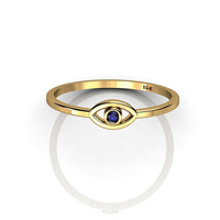Evil Eye ring in 14K Yellow Gold with Blue Sapphire