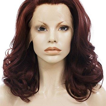 Short Reddish Brown Wavy Bob Synthetic Lace Front Wig