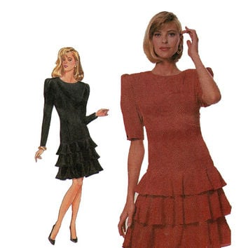 1980s DRESS PATTERN Drop Waist Party Dress with Tiered Ruffles Flounces Simplicity 8307 Size 12 Bust 34 UNCUT Vintage Womens Sewing Patterns