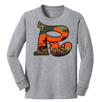 Orange Camo Initial w/Name Long Sleeve Ash Tee Shirt