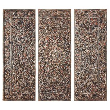 CBK 3 Piece Distressed Black Medallion Wall Decor Set