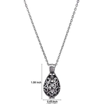 GLOWCAT G69 Antique Water Drop Locket Necklaces Bead Cage Charms Aromatherapy Essential Oil Diffuser Girl Chain Necklace