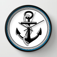 Anchors Up Wall Clock by McKenzie Nickolas (kenzienphotography)