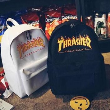 THRASHER Popular Women Men Casual Print Canvas Sport Laptop Bag Shoulder School Bag Backpack I