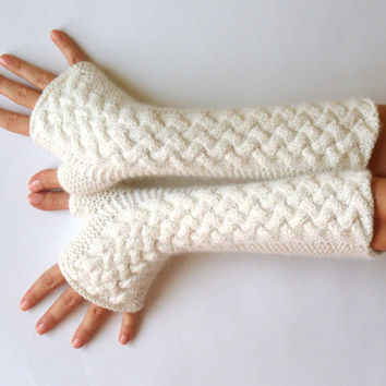 White Cable Fingerless Gloves Cashmere Fingerless Mittens Knit Arm Warmers Winter Hand Warmers Wrist Warmers - Aimarro - KG0039