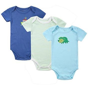 Newborn Baby Boy Blue Dinosaur and Ship Set of 3PCS Onesuit Short Sleeve Body Suits