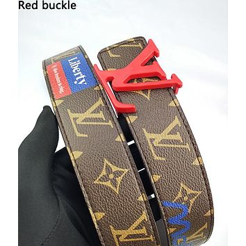 LV hot selling men's and women's color print belt fashion casual belt Red buckle