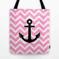 Pink Chevron Anchor Tote Bag by RexLambo
