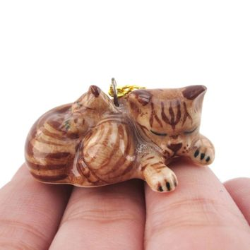 Sleeping Tabby Cat and Kitten Porcelain Pendant Necklace in Brown