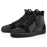 VONE05CS Christian Louboutin Louis Strass Men's Women's Flat Black Suede 3100592BK01