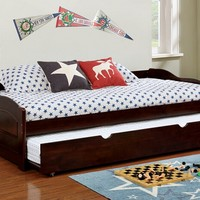 Furniture of america CM1737EX Sunset collection traditional style low profile style espresso finish wood day bed with trundle