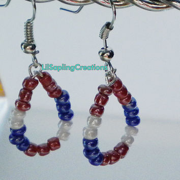 American Flag Native American Beadwork Seed Beaded Hoop Earrings
