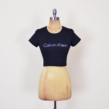 Calvin Klein Tshirt 90s Crop Tshirt Crop T-Shirt Black Crop Top Black Tshirt 90s Tshirt 90s Top 90s Grunge Tshirt Grunge Top Women S Small