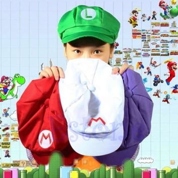 2017 New Fashion Super Mario Bros Adult Size Cosplay Baseball Costume Cap Green & Red 1 Pcs New Fashion Women Men Fitted Hats