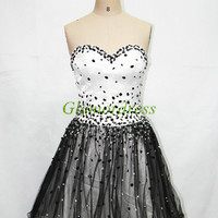 cute short black and white prom dresses on sale sweetheart homecoming dress with crystals stunning tulle satin gowns for cocktail hot