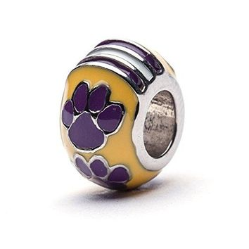 Louisiana State University Charm | LSU Tigers  Tigers Paw Charm | Officially Licensed Louisiana State University Jewelry | LSU Football | LSU Gifts | Stainless Steel