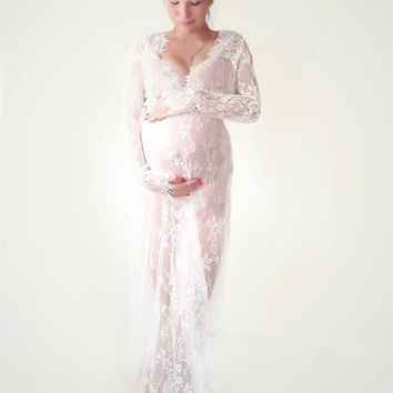 Le Couple maternity photography props maxi Maternity gown Lace Maternity Dress Fancy shooting photo summer pregnant dress Plus