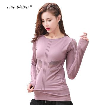 Line Walker Hollow Out Breathable O-Neck Running Sports Female Tops Fitness Yoga Workout Women Long Sleeve Female Sport T-Shirt