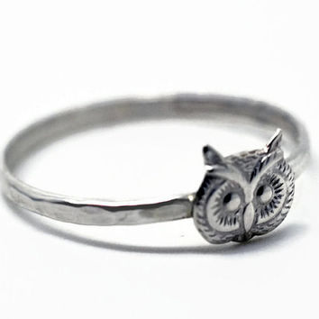 Silver Owl Ring, Sterling Silver Ring, Unisex Bird Jewelry, Owl Head Ring
