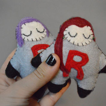 Double Trouble Team Rocket - Set of Two- Pokemon Plush - Team Rocket Felt Dolls - Jessie and James - Cute Geek Felt Plush