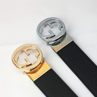 GUCCI Tide brand classic double G head men and women models simple wild smooth buckle belt