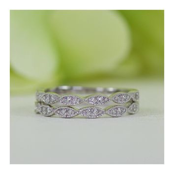 Micropavé Art Deco Style Double Row Cubic Zirconia Half Eternity Wedding Band Ring Set In Sterling Silver
