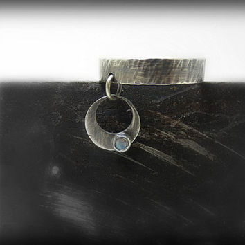 40 OFF SALE Crescent Moon Charm Ring With Australian Opal Silver Artisan Jewelry