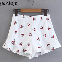 Cherry Embroidery Shorts Women Side Zipper Ruffles Summer Short feminino White High Waist shorts  XQB8100