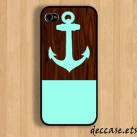 IPHONE 5 CASE Mint ANCHOR on Dark Wooden Pattern iPhone 4 case iPhone 4S case iPhone case Hard Plastic Case Soft Rubber Case