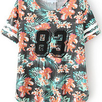 Floral Printed Shirt with 83 Graphic Print